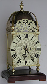 Nineteenth century two-handed lantern clock with chain-drive double fusee English movement