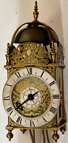 Lantern clock made in the 1670s by Richard Ames of London