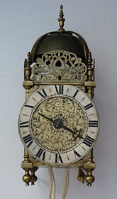 lantern clock of the 1670s, unsigned but attributable to the workshop of Jeffrey Bayley, London