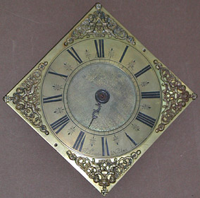 rare diamond-shaped dial wall clock  c.1710 by Thomas Banister of Norton