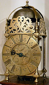 lantern clock made in the 1690s by William Barlow of King's Lynn