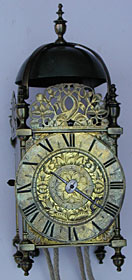 Lantern clock of the mid seventeenth century by Jeffrey Bayley of the Turnstile in Holborn, London