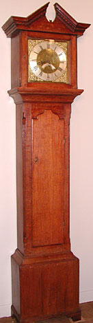 Thirty-hour brass dial longcase clock in oak, late 18th century, by Thomas Binks of Barningham