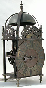 rare lantern clock made in the 1680s-1690s by Richard Breckell of Holmes, Lancashire