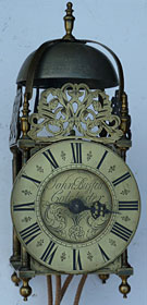 lantern clock with original anchor escapement made about 1715-1720 by John Buffett of Colchester
