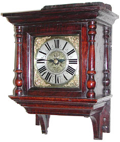 Hooded clock in superb original oak hood, c.1690, monogrammed SC