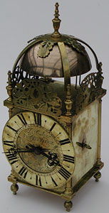 early 18th century lantern clock by John Calver of Woodbridge