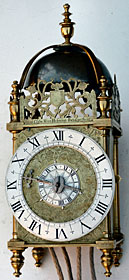 early example of a lantern clock by Peter Closon of Holborn Bridge, London, made in the 1630s