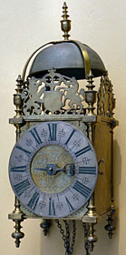 Lantern clock made in the 1690s by Joseph Curtis of Chew Magna in Somerset