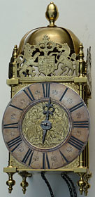 late seventeenth century lantern clock by Joseph Curtis of Chew Magna