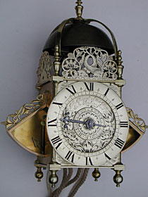 early winged lantern clock of the late 1660s or 1670s by John Ebsworth of New Cheap Side, London