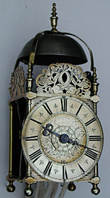 lantern clock by John Ebsworth of London, about 1680.