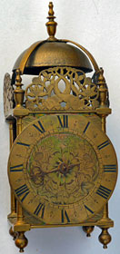 early lantern clock made in the 1660s by John Ebsworth at the Cross Keys in Lothbury, London
