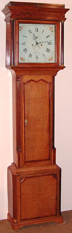 Eight-day longcase clock in oak with mahogany trim made c.1790 by William Ellis of Wrexham, Wales