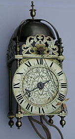 rare lantern clock by Ahasuerus Fromanteel of London