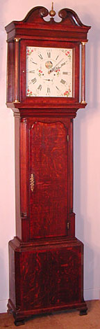Eight-day white dial longcase clock with penny moon, made c.1780 by Charles Edward Gillett of Manchester, Lancashire