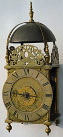 Charles II period lantern clock by 'Jeremy Gregorie Near the Royall Exchange London'
