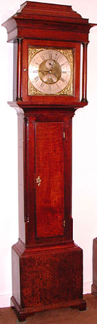 Eight-day clock in oak by Samuel Hill of Totley, c.1770