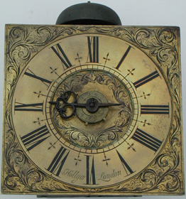 Hook and spike wall clock with alarmwork c.1710 by Samuel Hollyar of London, unrestored