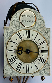 small arched dial lantern clock made about 1730 by Edward Hunsdon of Chelmsford, Essex