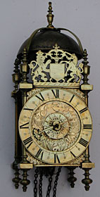 Lantern clock with original verge escapement by John London of Bristol c.1680