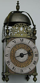 lantern clock of the 1650s by Thomas Knifton of the Crossed Keys in Lothbury, London