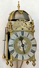 Exceptionally unusual unsigned lantern clock from about 1660, clearly made in London