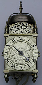 three-quarter-sized lantern clock made in the 1660s by John Lyon of Warrington