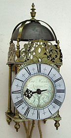 rare lantern clock made in the 1680s by Cornelius Manley, Norwich