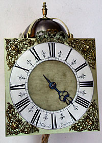 square dial lantern clock made in the 1690s by James Markwick senior