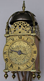 Lantern clock made in the 1650s by Thomas Milles of Shoe Lane, London