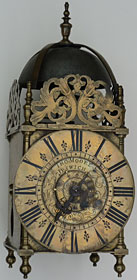 Lantern clock with original alarmwork by Thomas Moore, one of his very earliest clocks made about 1715