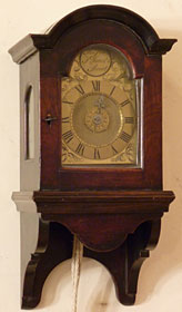Exceptionally small travelling wall clock made about 1750 by Thomas Pott of London