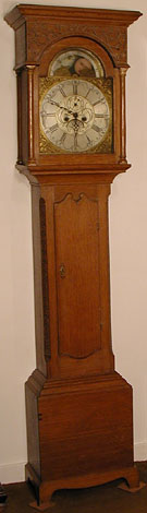 Oak-cased eight-day clock by Richard Marshall of Wolsingham, 1760s