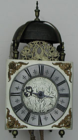 Lantern clock with square dial made about 1690 by Richard Roe of Epperstone, Lincolnshire