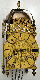 Lantern clock of about 1700 by Benjamin Shuckforth, Diss, Norfolk