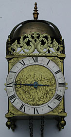 lantern clock by 'William Speakman in Hatton Garden Londini Fecit', made in the 1670s