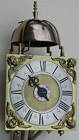 rare miniature square dial lantern clock with strikework and alarm made in the 1690s by John Trubshaw of London