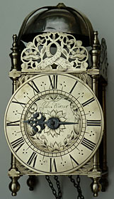 lantern clock by John Warner of Chipping Campden, Gloucestershire, dated 1692