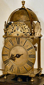 A very rare lantern clock with original verge pendulum made about 1690 by John Washbourn of Gloucester