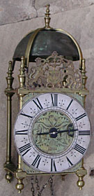 Lantern clock, unsigned, made in the West Country region of England in the 1680s