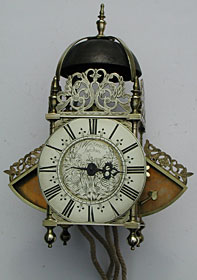 winged lantern clock made in the 1680s by Joseph Windmills of London